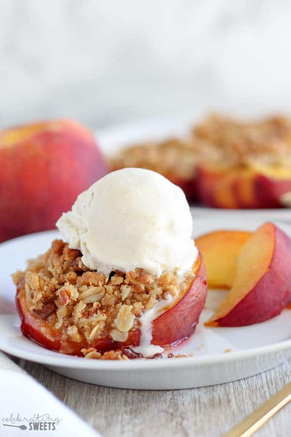 Stuffed Baked Peach with a Scoop of Vanilla Ice Cream