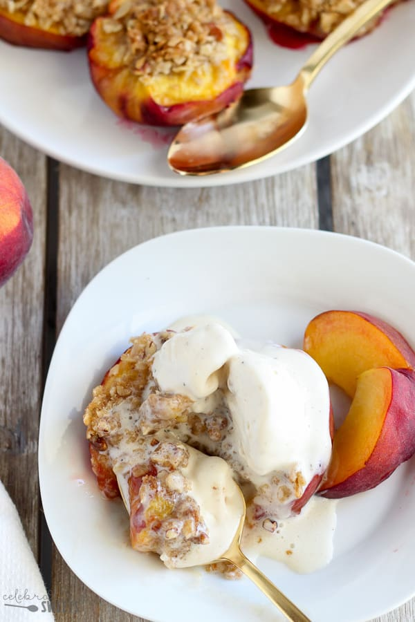 Streusel Stuffed Baked Peaches