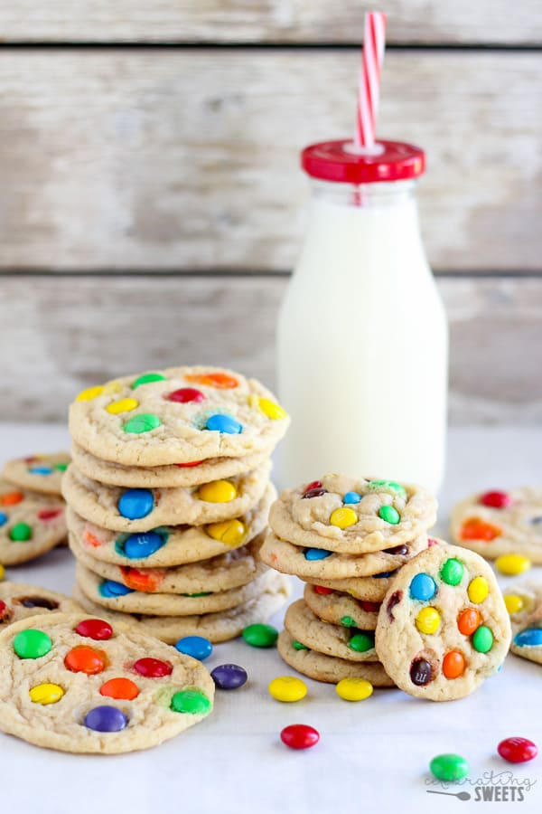 Soft and Chewy M&M Cookies with a Glass of Milk