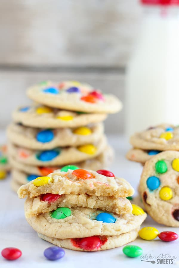 Soft and Chewy M & M Cookies - Make them regular sized or mini.