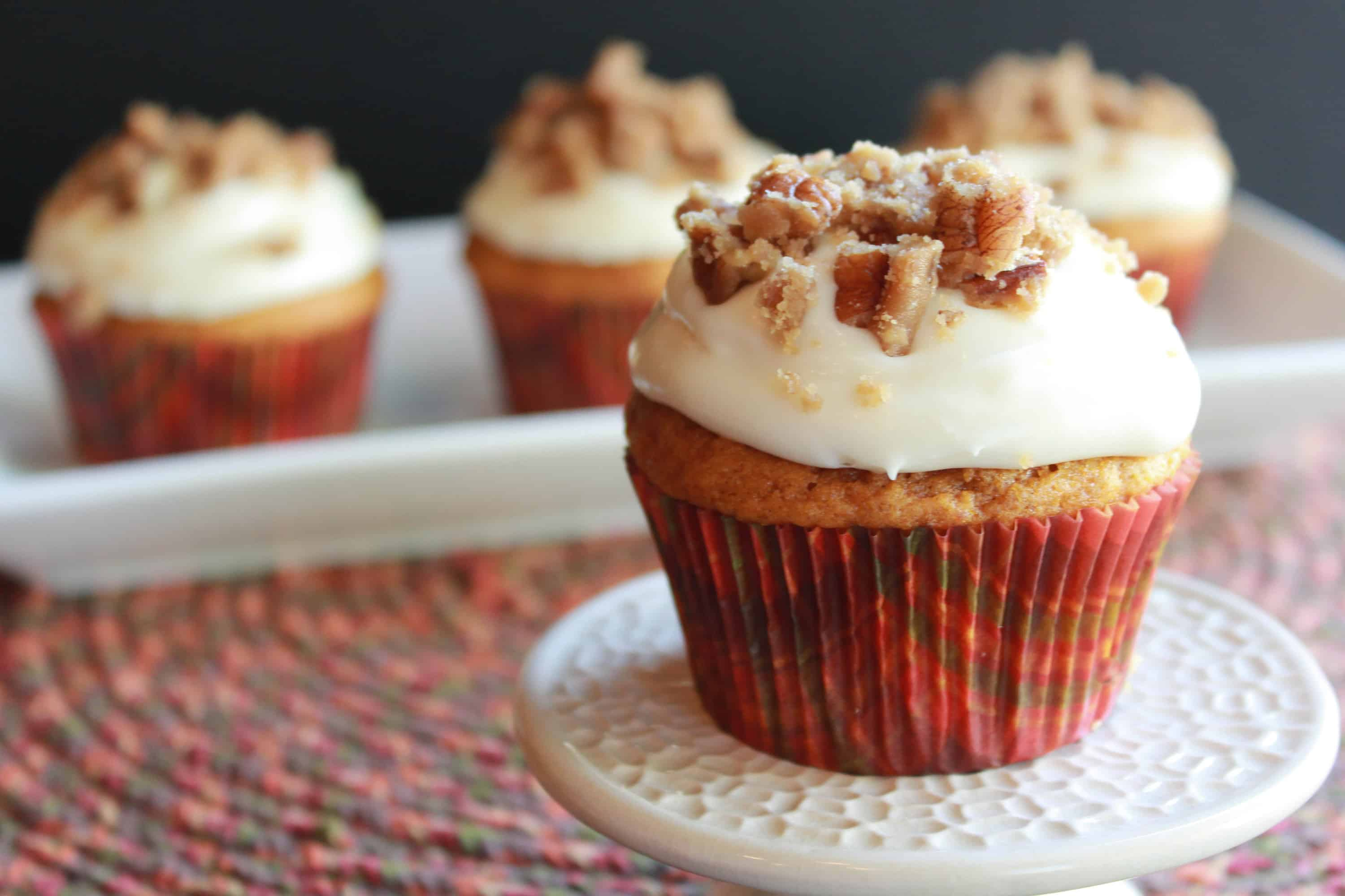 Pumpkin Crumb Muffins with Cinnamon Icing | Celebrating Sweets