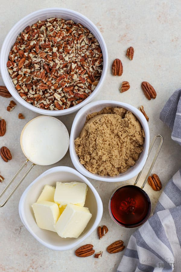Ingredients for the filling of maple pecan pie bars.