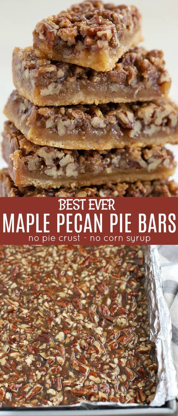 Maple Pecan Pie Bars made with a brown sugar shortbread crust and a gooey maple pecan filling. Sweet and salty, crunchy and chewy - absolutely addicting! With no crust to roll out these bars are even easier than pecan pie. #pecanpie #pecanbars #thanksgiving #pie #pecans #maplesyrup