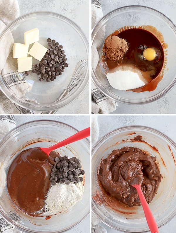 Brownie batter in a glass bowl (how to make brownies).