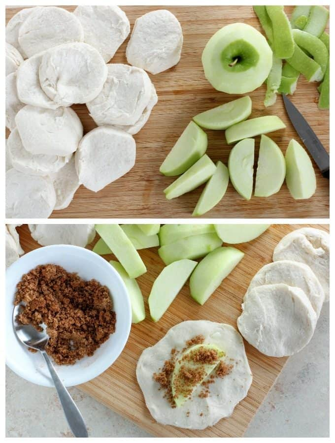 Combine 1 cup baking dish. Pat biscuits flat and fill with apple slices; fold in °F for 10 to 15 minutes or until biscuits are done.