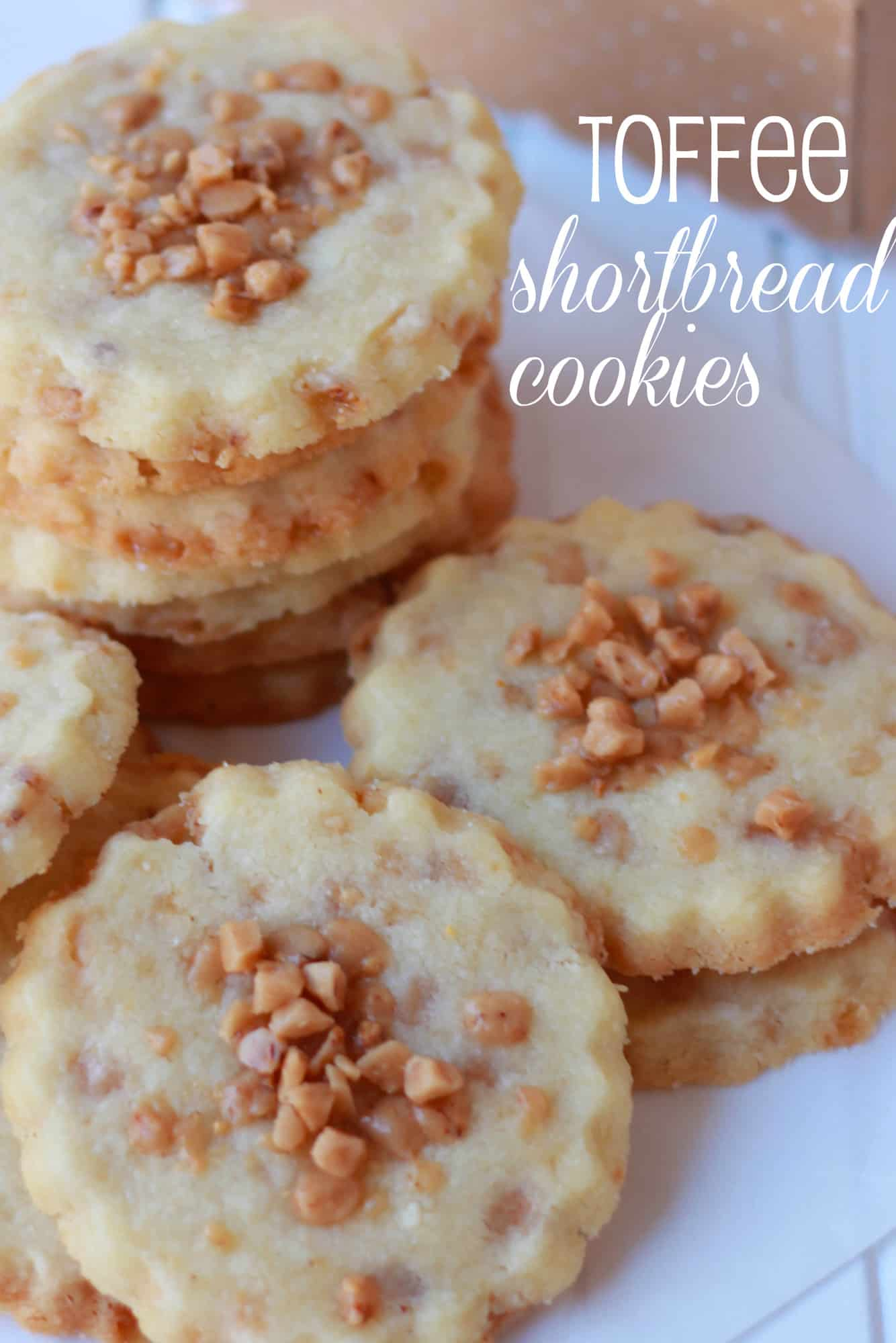 Shortbread cookies on a white board.