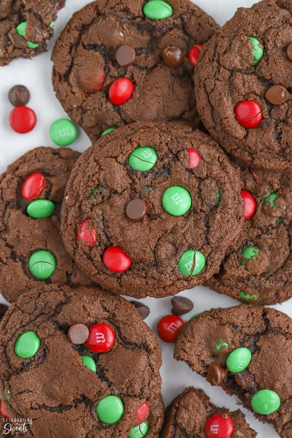 Chocolate cookies with red and green M&M's