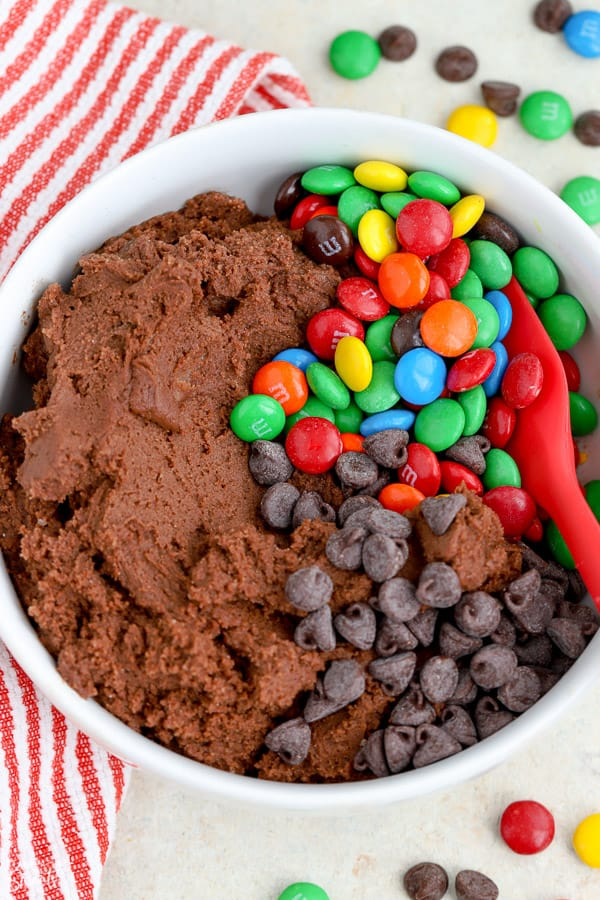 Chocolate cookies dough with M&M's and chocolate chips.
