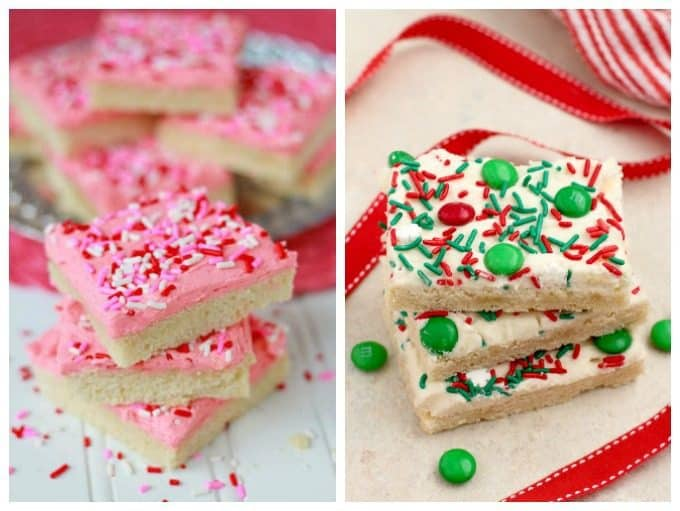 Valentine's and Christmas sugar cookie bars.