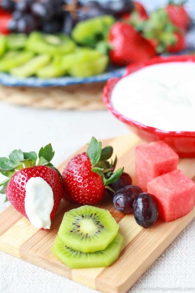 Light Vanilla Cream Cheese Fruit Dip - An easy, healthy recipe that you will LOVE!