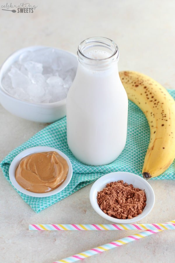 Ingredients for a chocolate peanut butter smoothie