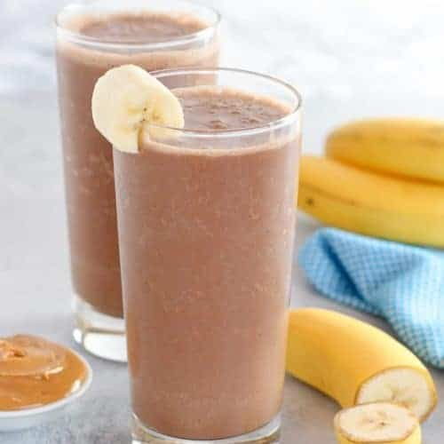 Chocolate Peanut Butter Banana Smoothie Celebrating Sweets