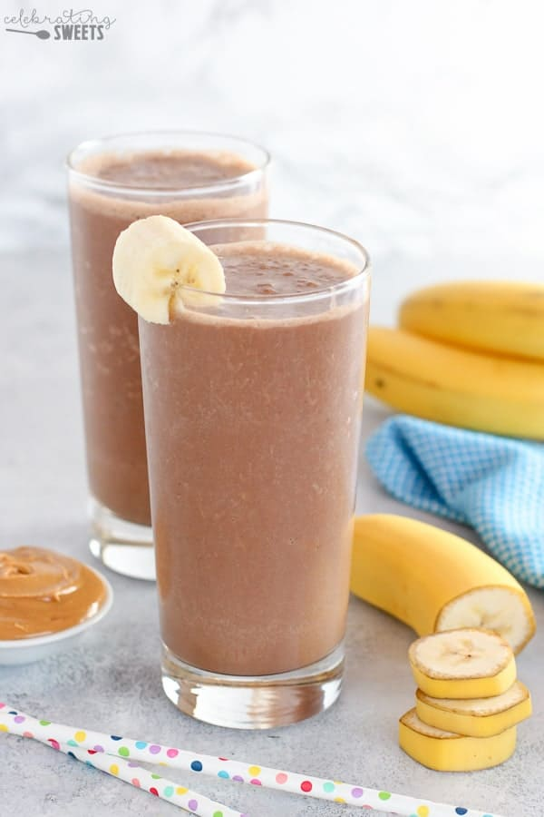 Chocolate peanut butter banana smoothie in a glass