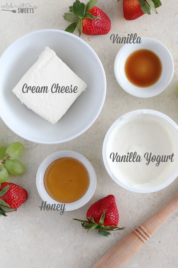 Ingredients for cream cheese fruit dip.