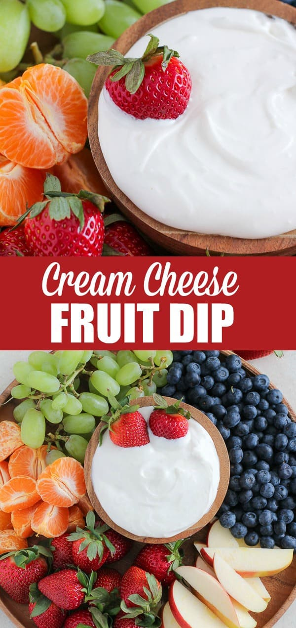 Cream Cheese Fruit Dip - Light and creamy honey vanilla fruit dip. An easy 4-ingredient recipe that everyone loves! #creamcheese #dip #dessert #appetizer #fruit