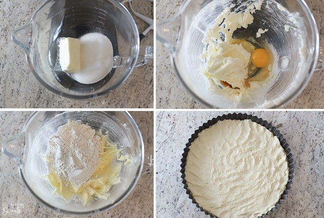 How to make tart dough: cookie dough in a glass bowl