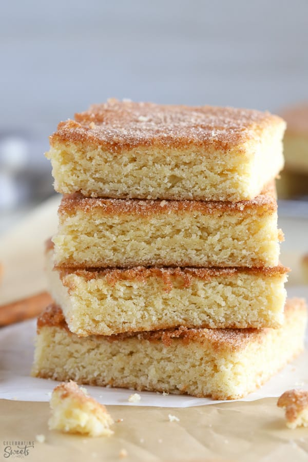 Stack of four snickerdoodle bars.