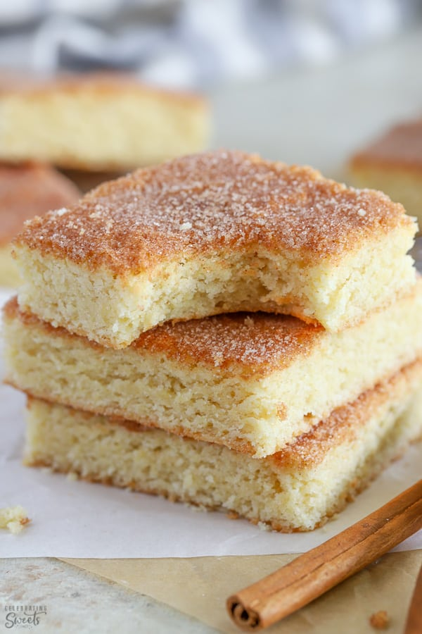 Stack of three snickerdoodle bars.