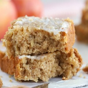 Two slices of apple bread stacked on top of each other.