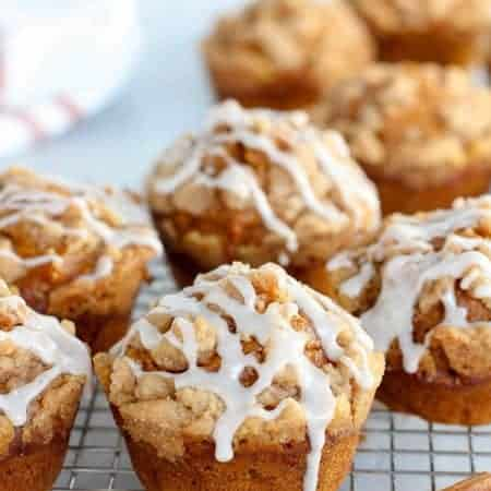 Pumpkin Muffins with crumb topping and icing.