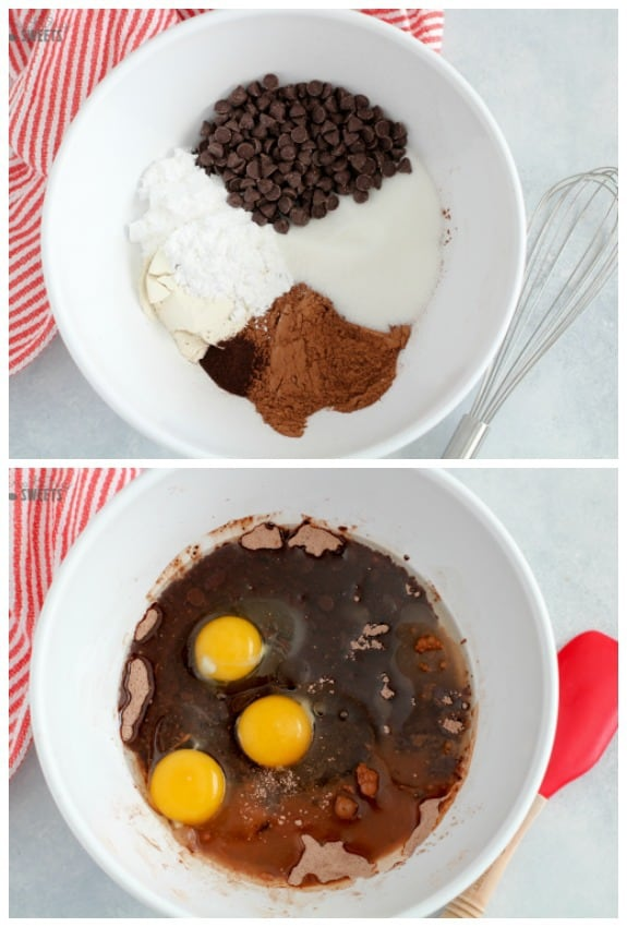 Brownie ingredients in a large white bowl.