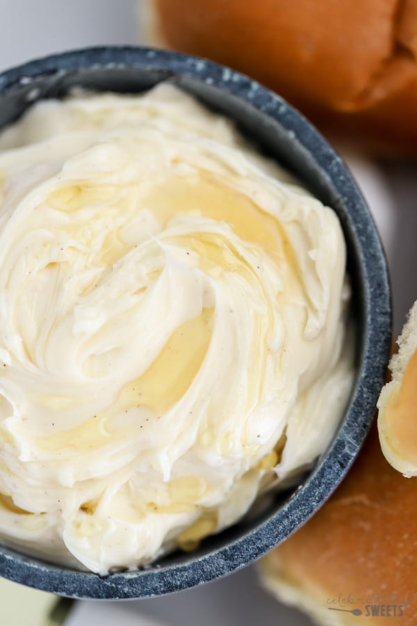 Honey Butter in a grey bowl.