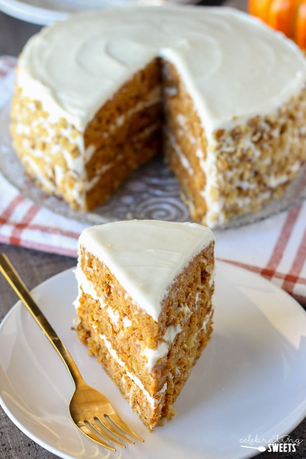 Slice of three layer Pumpkin Carrot Cake.