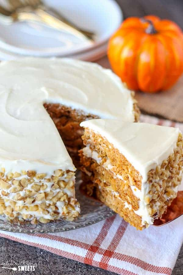 Pumpkin Carrot Cake With Cream Cheese Frosting Celebrating Sweets