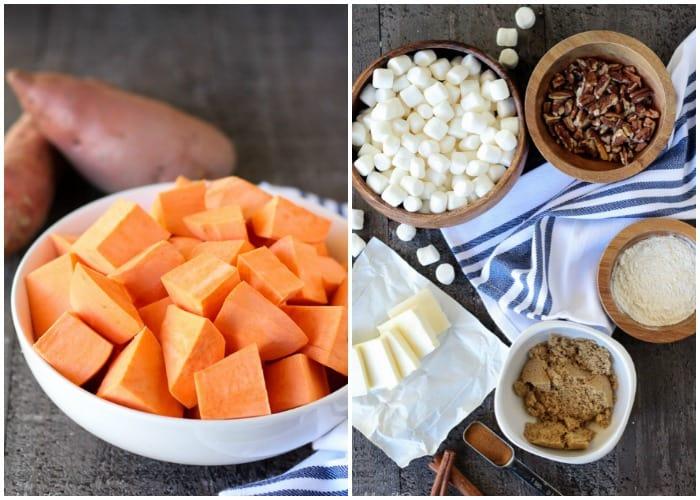 Ingredients to make Sweet Potato Casserole.