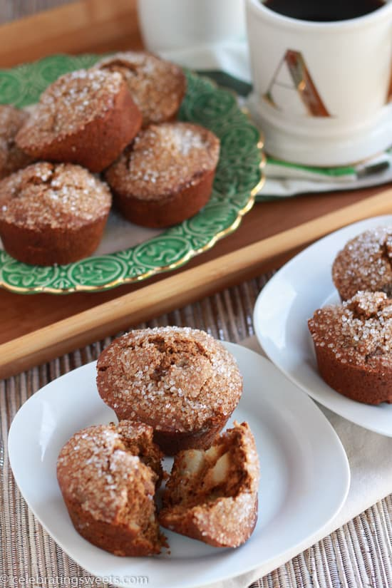 Gingerbread Pear Muffins ~ Celebrating Sweets