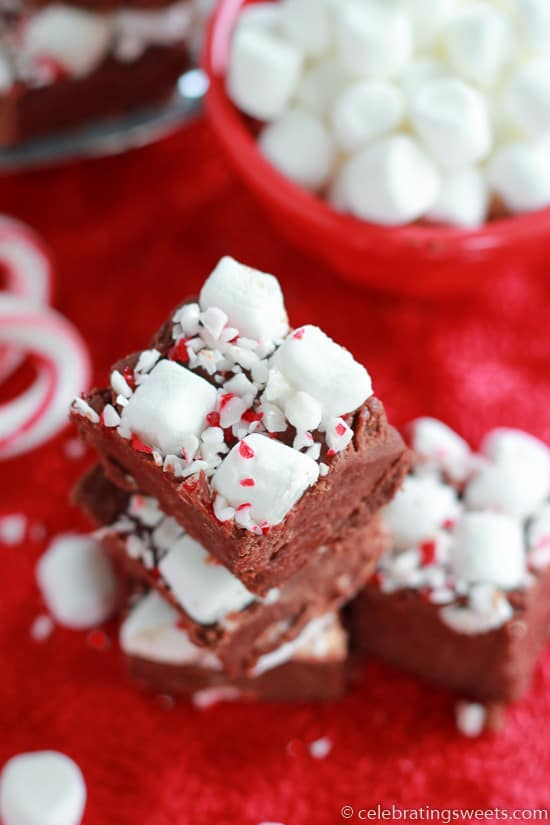 Piece of fudge topped with marshmallows and crushed candy canes.