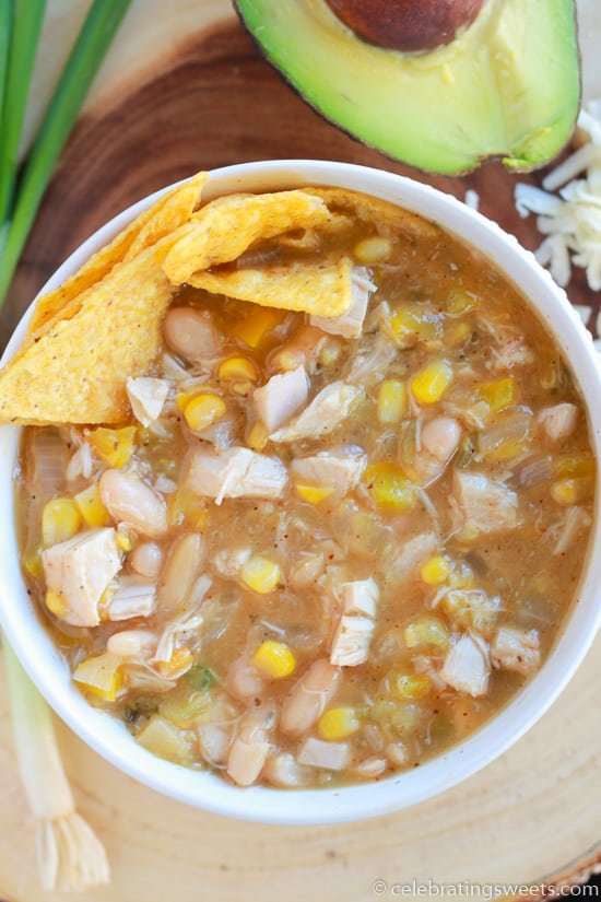 30 Minute White Chicken Chili- Celebrating Sweets
