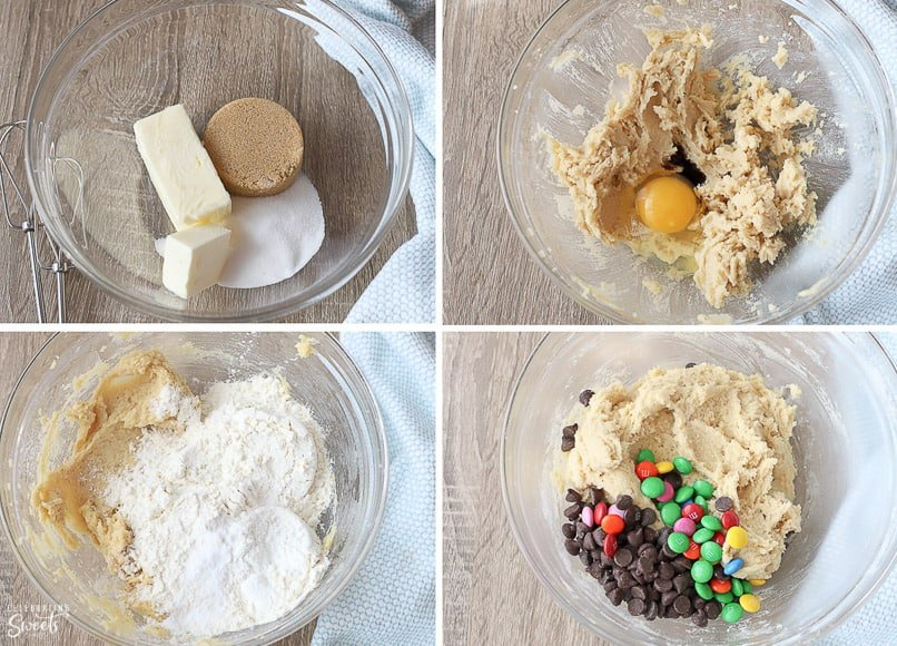 Ingredients for cookie cake in a glass bowl