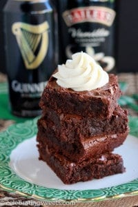Fudgy brownies made with Guinness and topped with Irish cream frosting