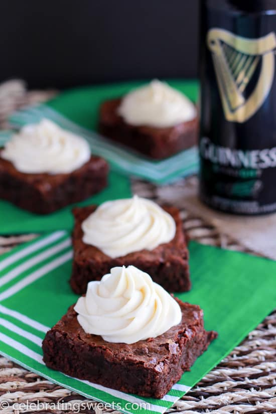 Guinness Brownies with Irish Cream Frosting - The perfect dessert for St. Patrick's Day.
