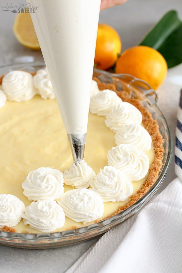 Whipped Cream on top of Lemon Cream Pie