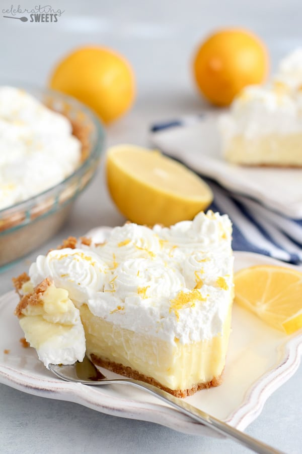 Slice of Lemon Cream Pie on a White Plate