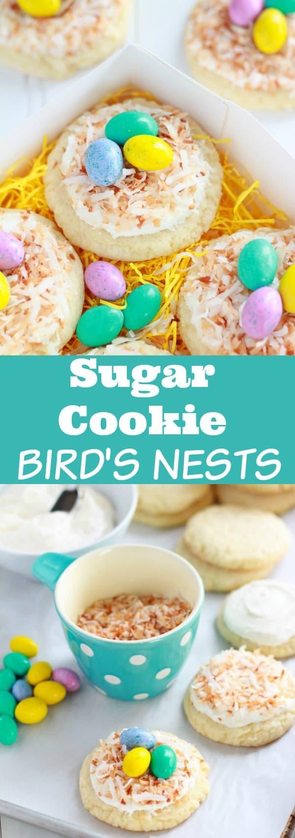 Sugar Cookie Bird's Nests - A fun Spring or Easter dessert!