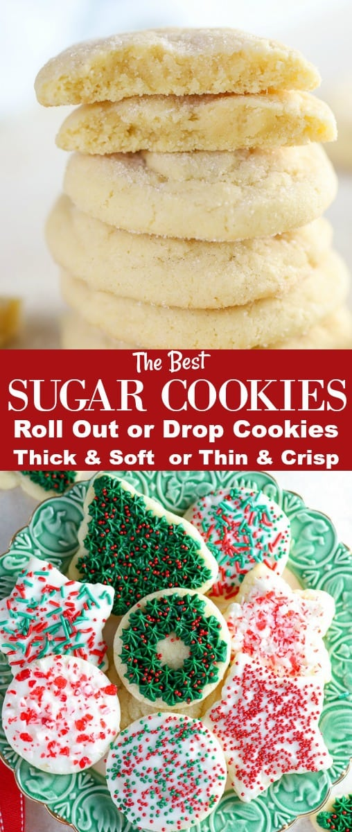 These Easy Sugar Cookies can be made as DROP COOKIES or CUT OUT COOKIES - BAKED SOFT or CRISP. Use this basic dough to make your perfect sugar cookie! Option to bake immediately - no chill time! #sugarcookies #cutoutcookies #christmascookies #cookies #holidaybaking