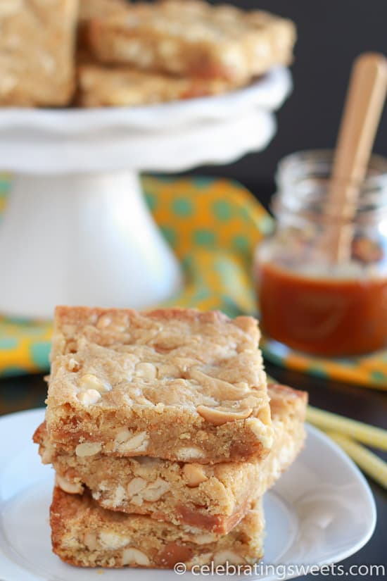 Soft and chewy blondies filled with caramel pieces, salted cashews and white chocolate chips.