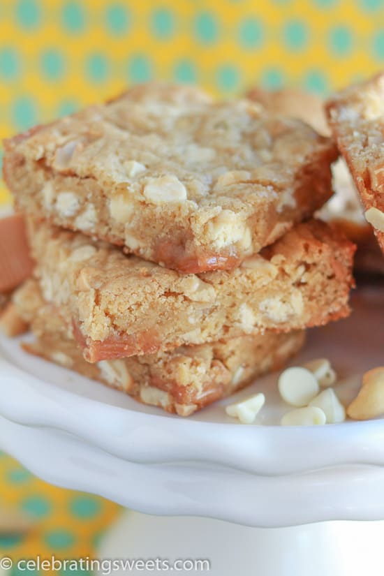 White Chocolate Blondies on a White Platter.