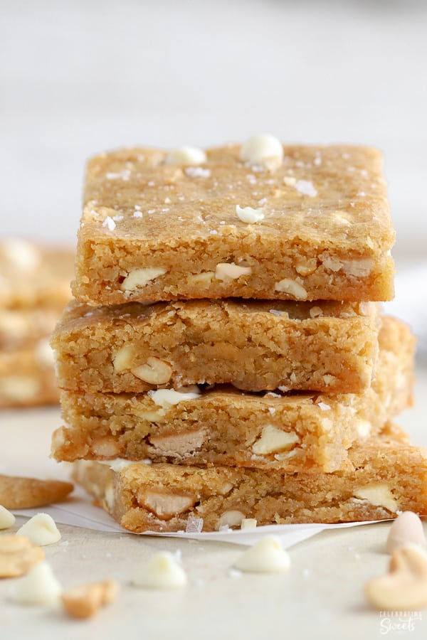 Stack of four blondies.