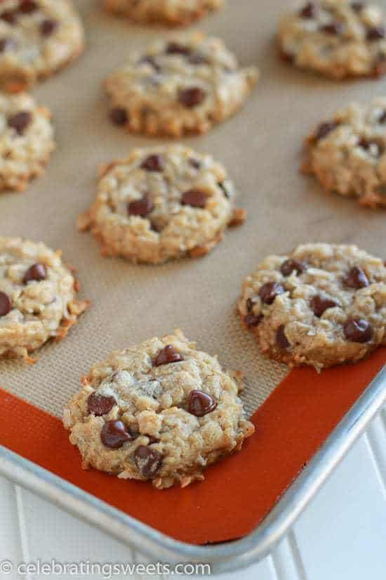 Coconut Oat Chocolate Chip Cookies (made with coconut oil)