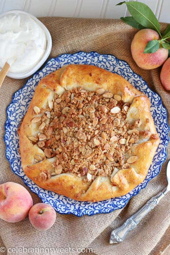 Rustic Peach Pie with Almond Crumble