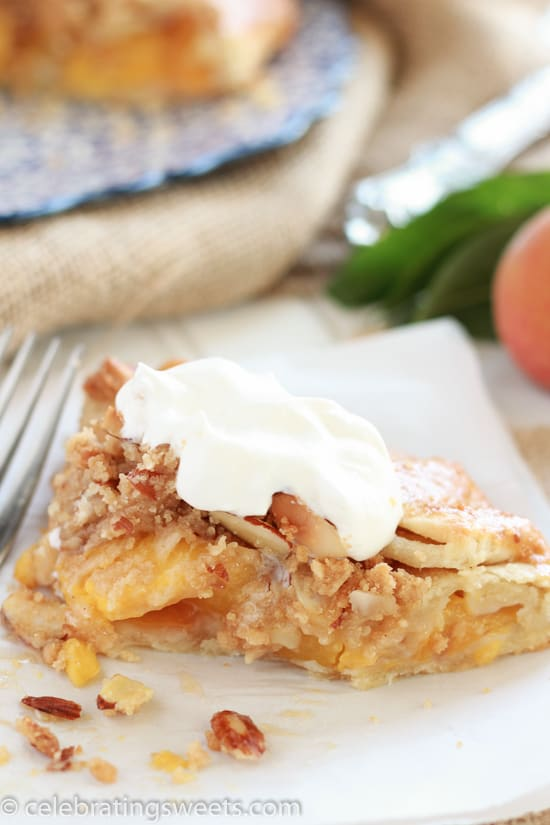 Rustic Peach Pie with Almond Crumble Topping