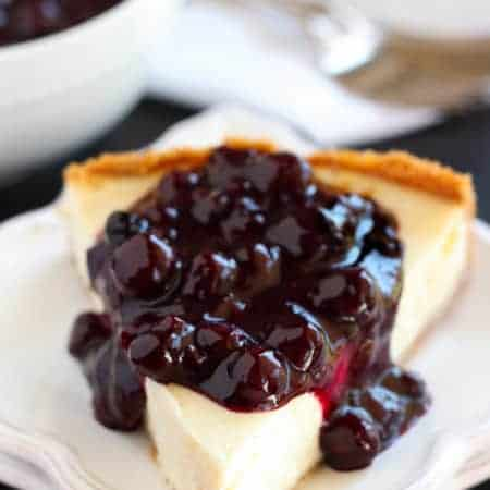 Greek Yogurt Cheesecake with Blueberry Sauce