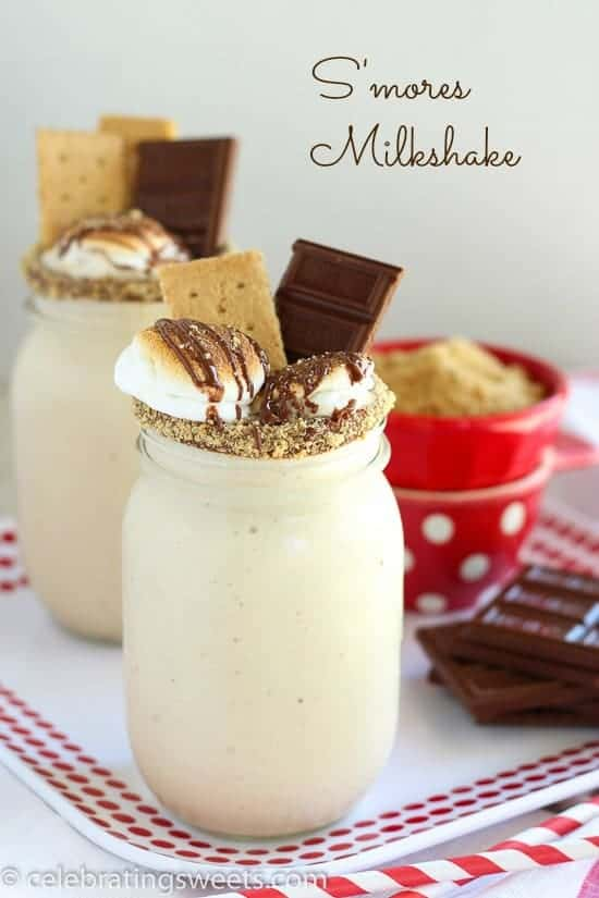 S'mores Milkshake garnished with graham crackers and chocolate.