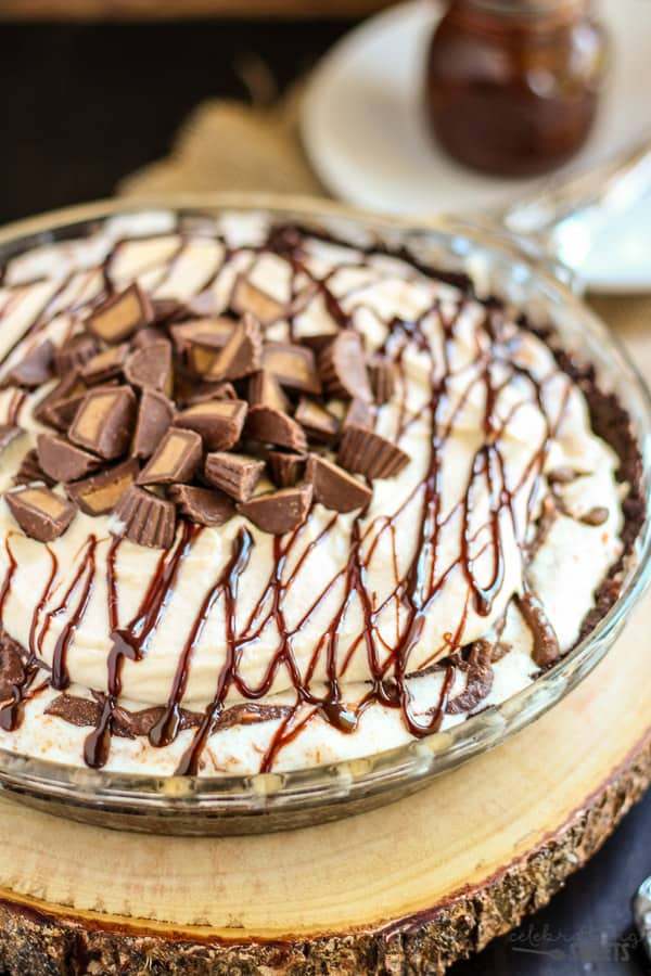 Ice Cream Pie topped with Hot Fudge and Peanut Butter Cups