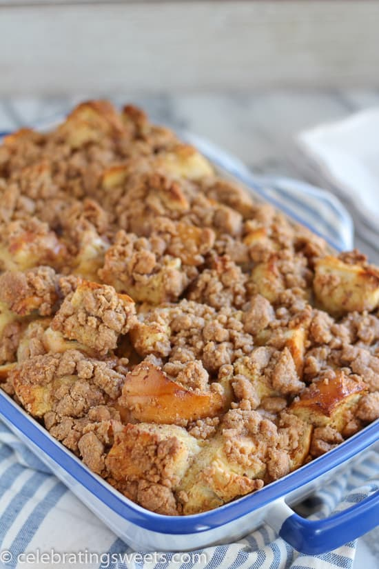 Baked French Toast Casserole in a blue baking dish.