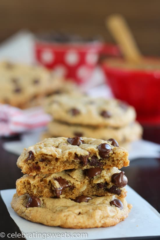 Stack of Peanut Butter Oatmeal Chocolate Chips Cookies.